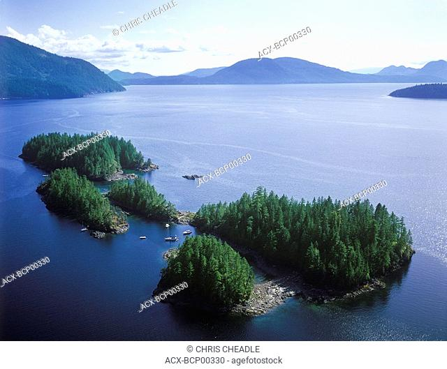 Aerial view of Jervis Inlet, Hotham Sound, Harmony Island, British Columbia, Canada