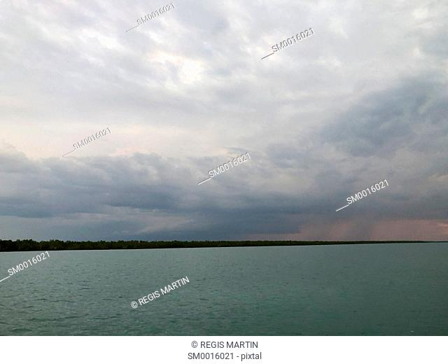 Storm over the shore of Darwin Harbour in Australia