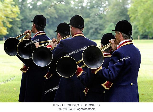 Group of French hunting horn players, Azay le Ferron, Indre-et-Loire, Loire Valley, Centre, France