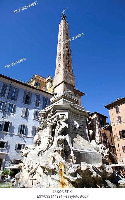 Fountain of the Four Rivers (Fontana dei Quattro Fiumi) with an Egyptian obelisk. Italy. Rome. Navon Square (Piazza Navona)