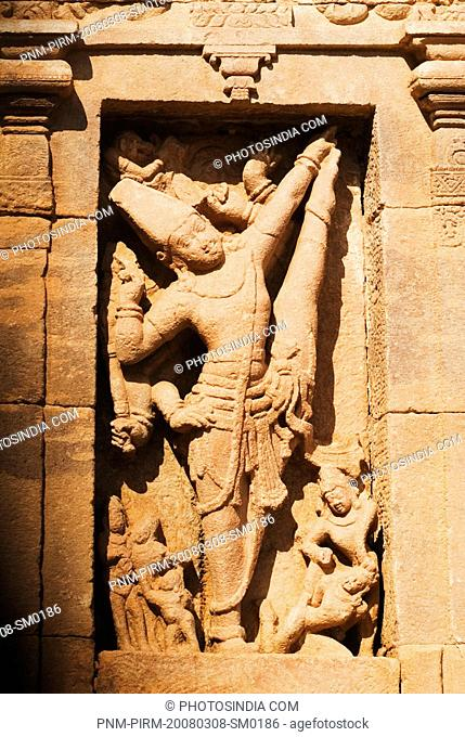 Bas relief on a temple, Virupaksha Temple, Pattadakal, Bagalkot, Karnataka, India
