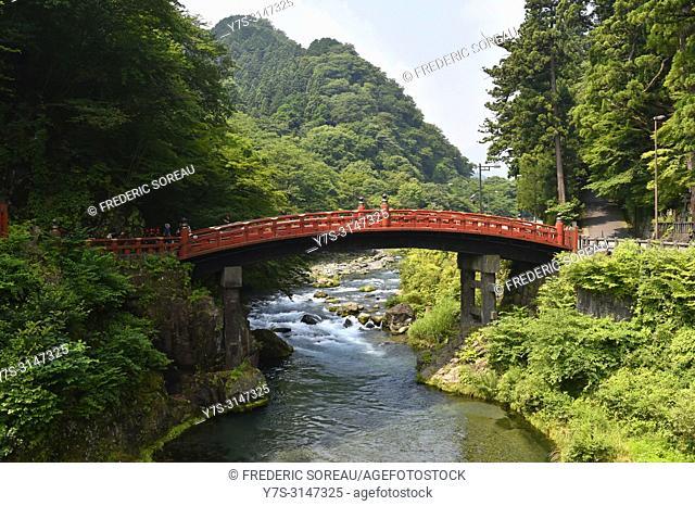 The Shinkyo Sacred Bridge in Nikko, Jover the Daiya river , Japan, Asia
