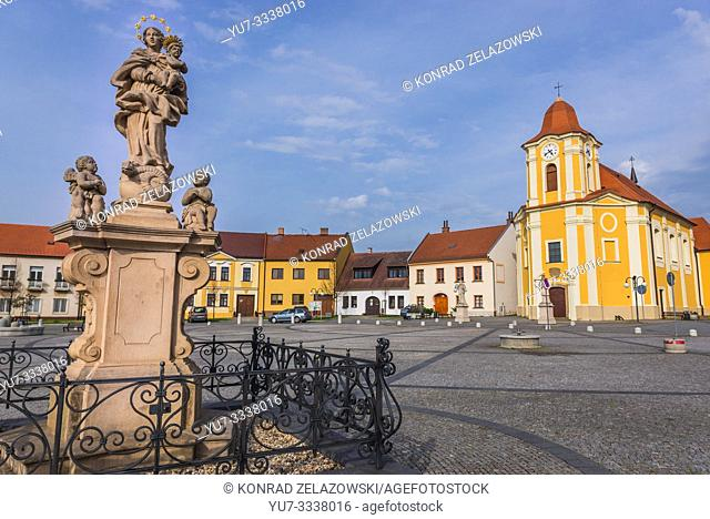 Church of Saint Bartholomew on Saint Bartholomew Square in Veseli nad Moravou town in the South Moravian Region of the Czech Republic