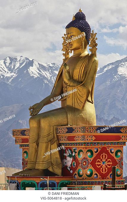 Maitreya Buddha statue at the Likir Monastery (Likir Gompa) located in the foothills of the Himalayas in Likir, Ladakh, Jammu and Kashmir, India