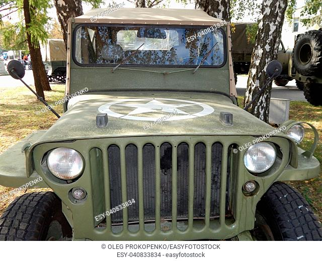 Military cars, equipment, retro items and elements
