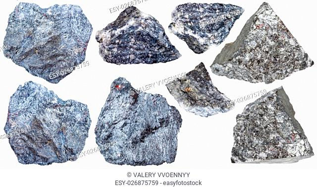 collection from specimens of antimony ore (Stibnite, antimonite) isolated on white background