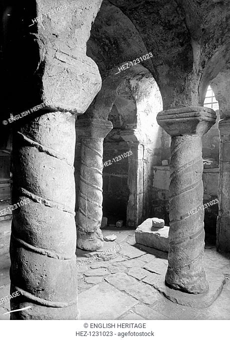 Crypt of St Wystan's church, Repton, Derbyshire. The 9th century crypt of St Wystan's church, Repton, showing detail of spiral decoration on the columns which...