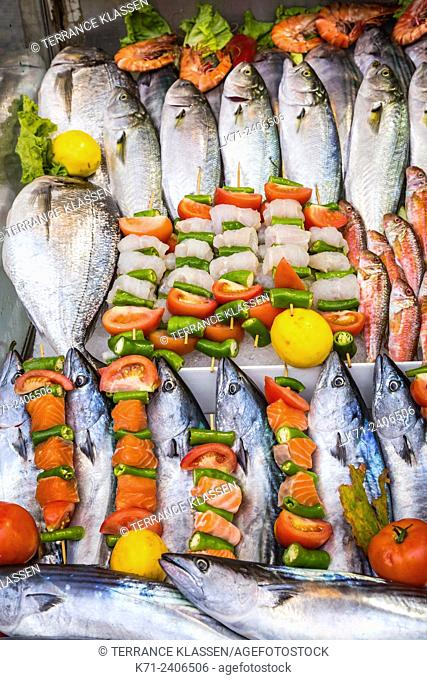Fresh caught fish display on ice at a restaurant at the fishing village of Anadolu Kavagni along the Bosphorus near Istanbul, Turkey
