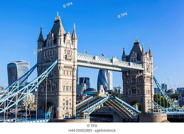 England, London, Tower Bridge and City Skyline
