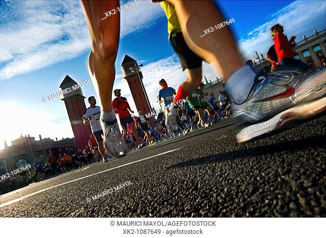 Detail of a runner's legs, Avinguda Reina Maria Cristina, Marathon Barcelona 2010
