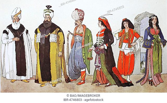 Fashion, historical clothes, folk costumes in Turkey from 1800, 1825, dignitaries, illustration, Turkey