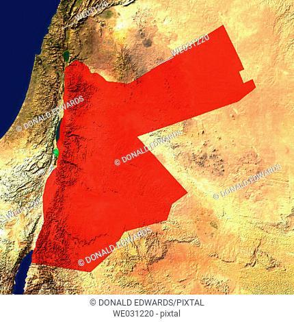 Highlighted satellite image of Jordan