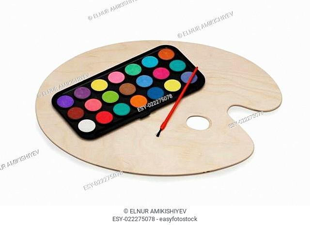 Painter's palette isolated on the white background