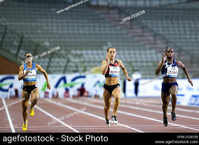 Italian Irene Siragusa, Belgian Rani Rosius and French Carolle Zahi pictured in action during the women's 100m race at the 2020 edition of the AG Memorial Van...
