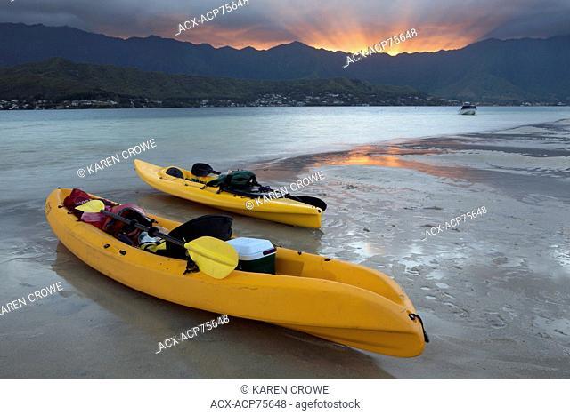 Kayaks on the Sunken Sandbar at Sunset, Kane'ohe Bay, Oahu, Hawai'i, United States of America