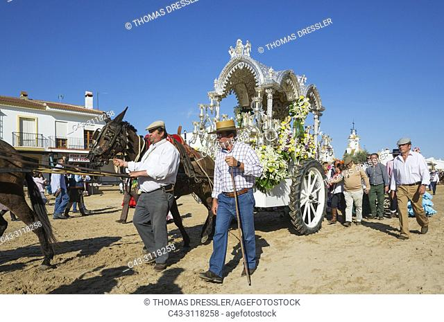 Lavishly decorated cart during the annual Pentecost pilgrimage of El Rocio. Huelva province, Andalusia, Spain