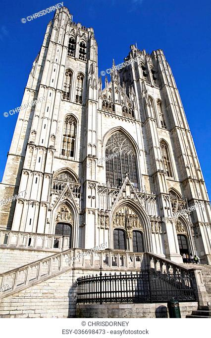The impressive St. Michael and St. Gudula Cathedral in Brussels, Belgium