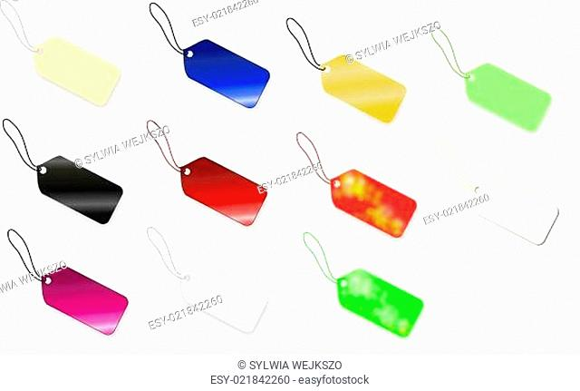 Set of multi colored tag on white background