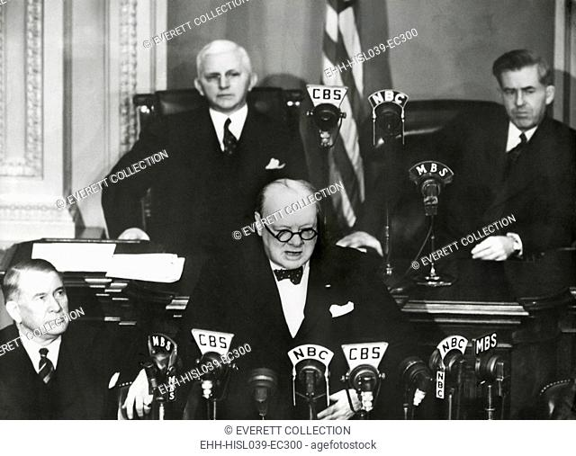 Prime Minister Winston Churchill speaking to a joint session of Congress, Dec. 26, 1941. Less than 3 weeks after the Japanese Attack on Pearl Harbor