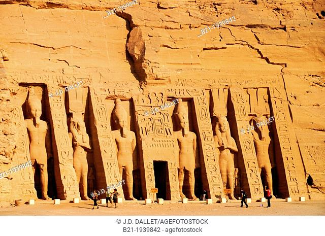 Egypt-The Hathor temple. The Abu Simbel temples temples in Abu Simbel (??? ???? in Arabic) in Nubia, southern Egypt. They are situated on the western bank of...