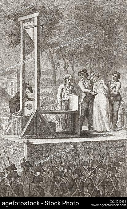 Marie Antoinette being led to the guillotine, October 16, 1793. Marie Antoinette, 1755 - 1793. Queen of France. By Christiaan Josi