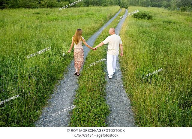 couple holding hands walking down country road