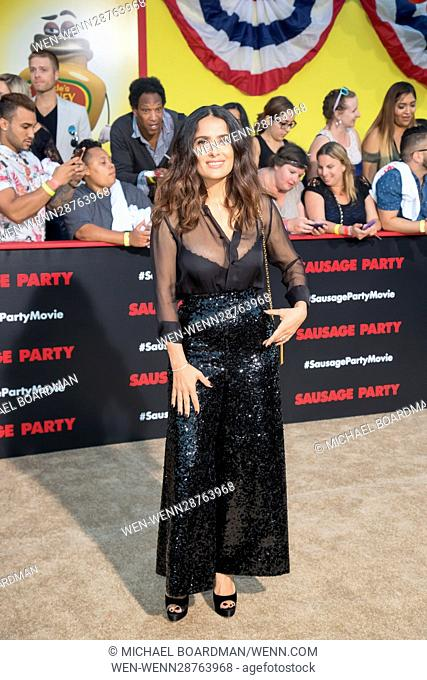 Salma Hayek attending the Los Angeles premiere of Sony's 'Sausage Party' at the Regency Village Theatre in Westwood, California
