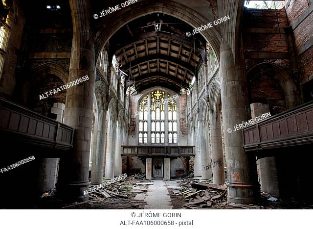 City Methodist Church, an abandoned gothic church in Gary, Indiana, USA