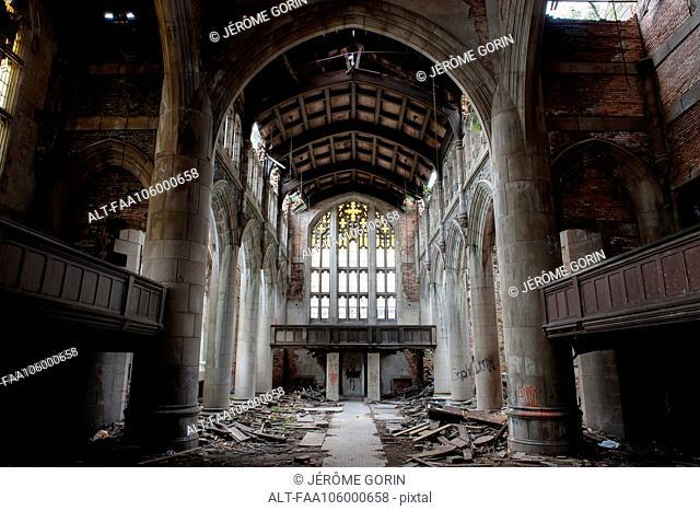 City Methodist Church, an abandoned gothic church in Gary, Indiana, USA