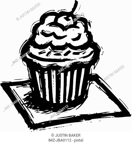 A black and white illustration of a cupcake with a cherry on top