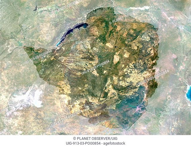 Zimbabwe, Africa, True Colour Satellite Image With Mask. Satellite view of Zimbabwe with mask. This image was compiled from data acquired by LANDSAT 5 & 7...