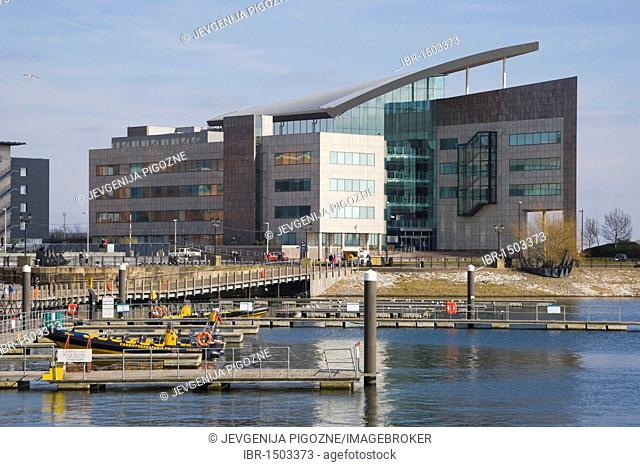 Atradius headquarters, Harbour Drive, Capital Waterside over Inner Harbour, Cardiff Bay, Cardiff, South Glamorgan, Wales, United Kingdom, Europe
