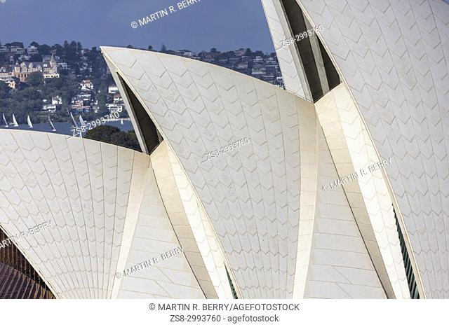 Close up shot of the roof sail structure of the iconic Sydney Opera house at Bennelong Point, Sydney, Australia