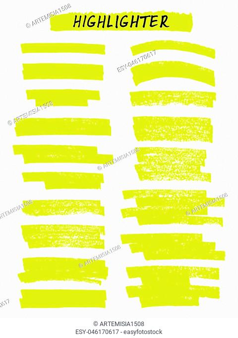 Vector yellow highlighter brush lines on white background. Hand drawing