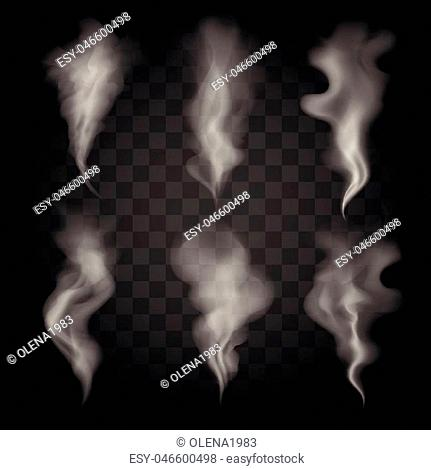 Six vector gray smoke waves. Set of Realistic vector steams on transparent background