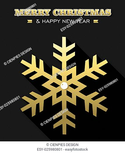 Merry Christmas Happy New Year gold snowflake design on black background. Ideal for xmas greeting card, holiday poster or web. EPS10 vector