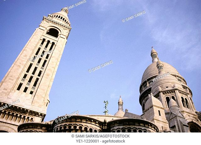 Architectural features of the Sacre Coeur at sunset, Paris, France