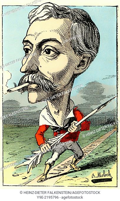 Édouard Lockroy, 1838 - 1913, a French politician, Political caricature, 1882, by Alphonse Hector Colomb pseudonym B. Moloch, 1849-1909, a French caricaturist