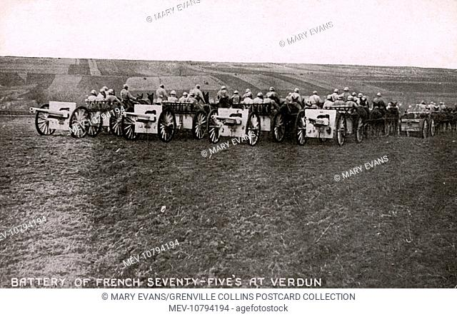 French artillery at Verdun - WWI. Battery of seventy-five's