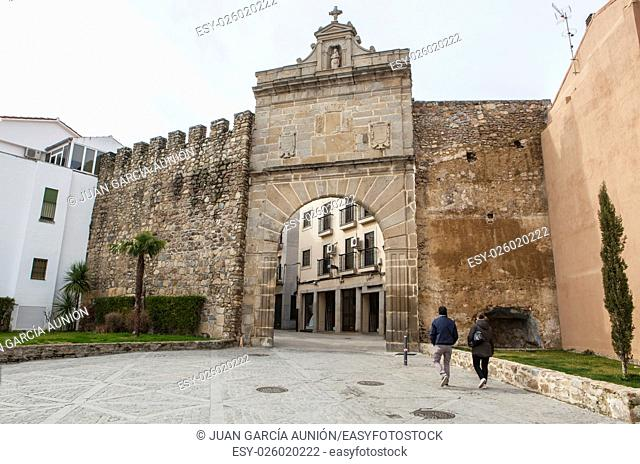 Medieval Sun Door, Puerta de Sol. Gate in the wall that protects the historic center of Plasencia, Caceres, Spain