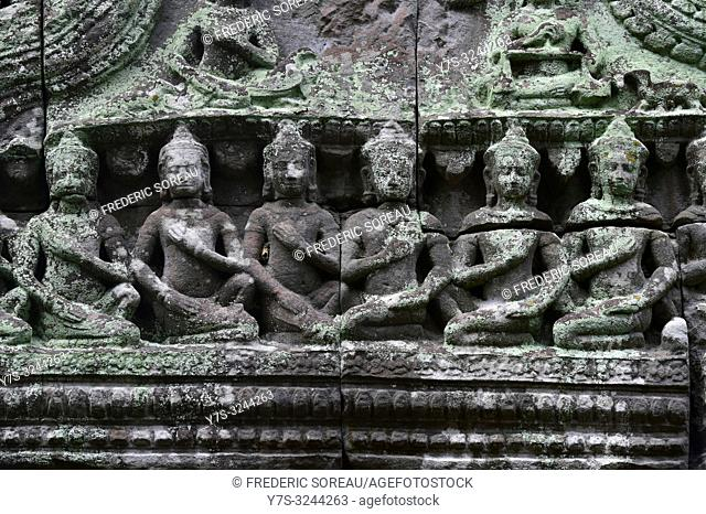 Relief in Ta Prohm temple, Angkor, Unesco, Siem Reap, Cambodia, South east Asia