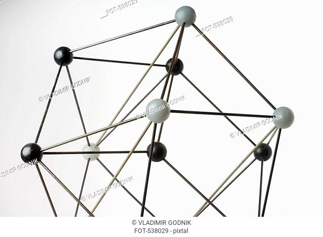 A ball and stick model on a white background