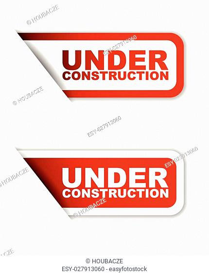 This is red set vector paper stickers under construction