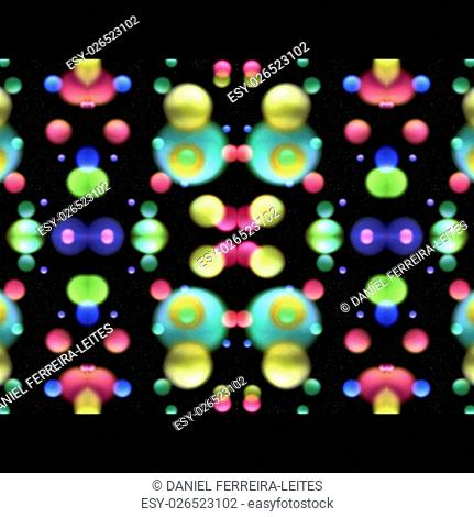 Digital art collage technique circles motif geometric abstract seamless pattern design in multicolored tones against black background