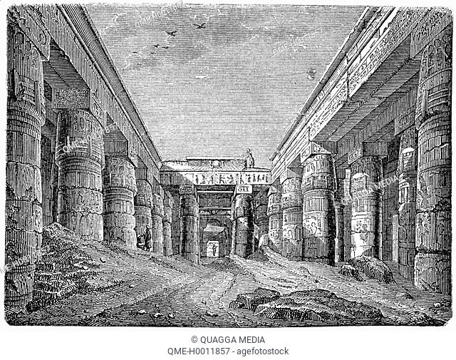 Forecourt of the Temple of Chensu (Khonsu) in Karnak, Egypt