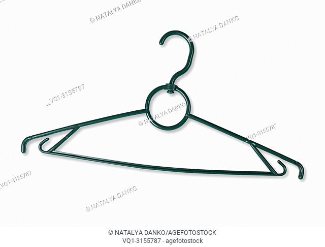 green plastic clothes hanger isolated on white background, close up