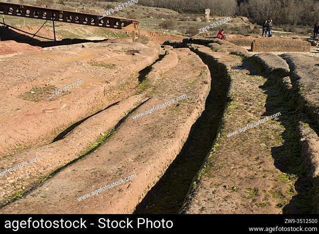 Roman city of Tiermes, Centuries I to III A.C., aqueduct carved in sandstone, Pela Mountains, Montejo de Tiermes, province of Soria, Castilla y Leon, Spain