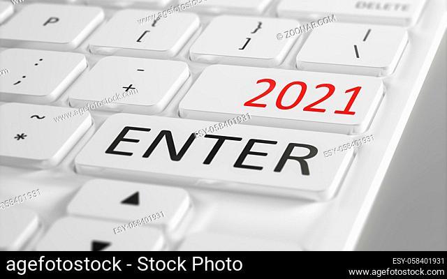 computer keyboard enter New Year 2021 3d illustration