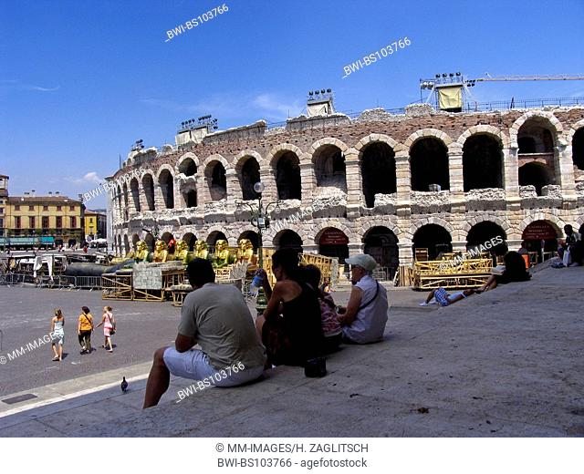 Tourists in front of the arena di Verona, Italy, Verona