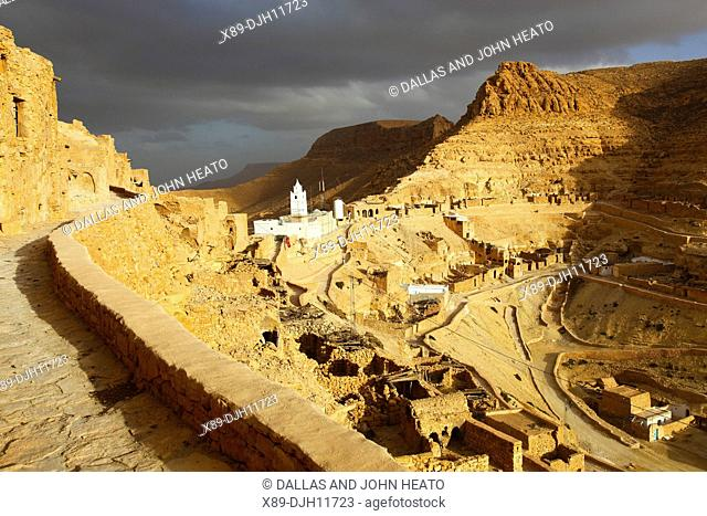 Africa, Tunisia, Mountainside Berber Village of Chenini, Troglodyte Cave dwellings, Town Mosque